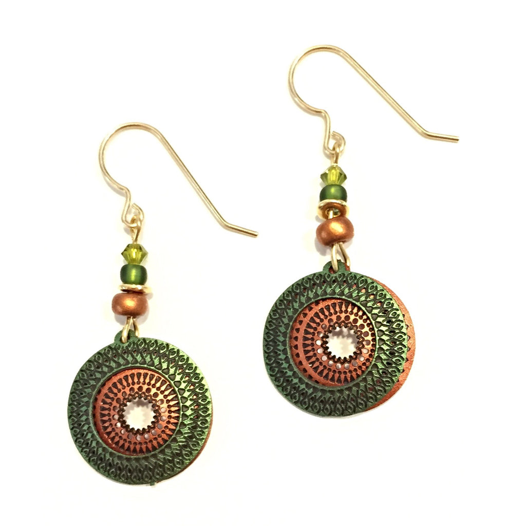 Olive and Copper Discs Earrings By Sienna Sky, $20 | Light Years Jewelry