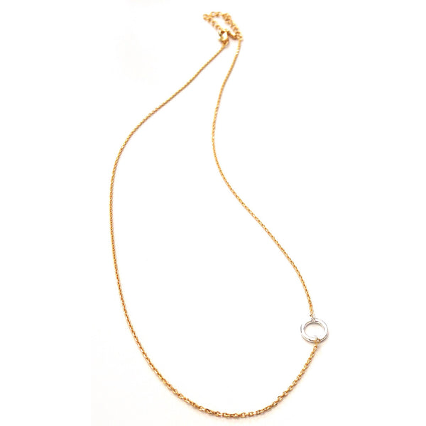 Small Silver Circle On Gold Chain Necklace, $22 | Light Years Jewelry