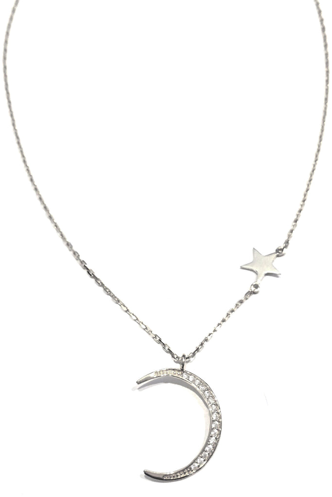 CZ Moon and Star Necklace, $25 | Gold, Silver, Rose Gold | Light Years