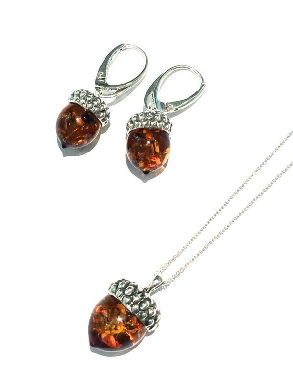 Baltic Amber Acorn Earrings | Sterling Silver | Light Years Jewelry