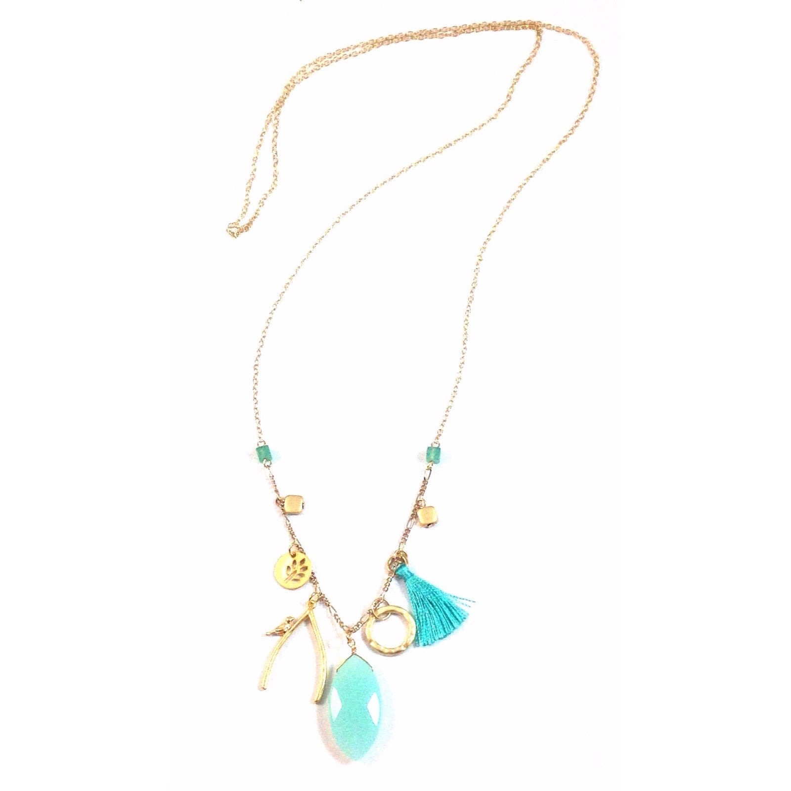 Chalcedony Charm & Tassel Necklace, $21 | Gold Chain | Light Years Jewelry