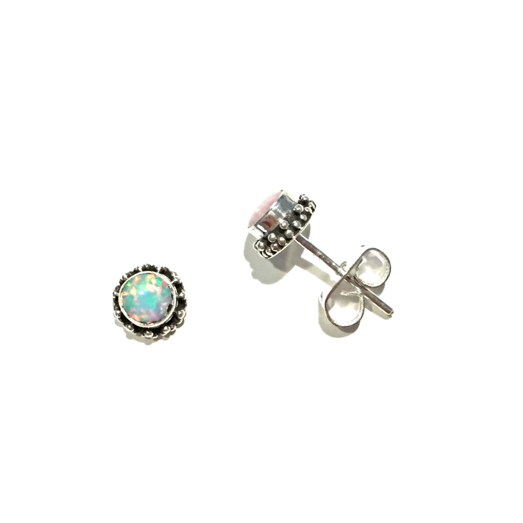Round Opal Posts with Border, $16 | Sterling Silver Stud Earrings | Light Years Jewelry