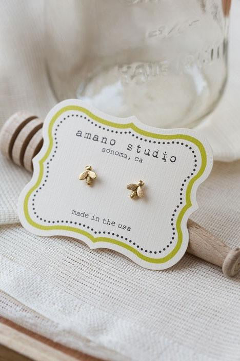 Tiny Gold Honey Bee Posts | Amano Studs Earrings | Light Years Jewelry
