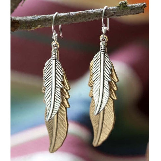Mixed Metal Feather Earrings, $26 | Sterling Silver | Light Years Jewelry
