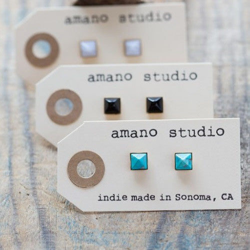Amano Pyramid Posts, $22 | Stone Stud Earrings | Light Years Jewelry