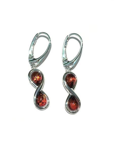 Amber Infinity Earrings | Sterling Silver Dangles | Light Years Jewelry