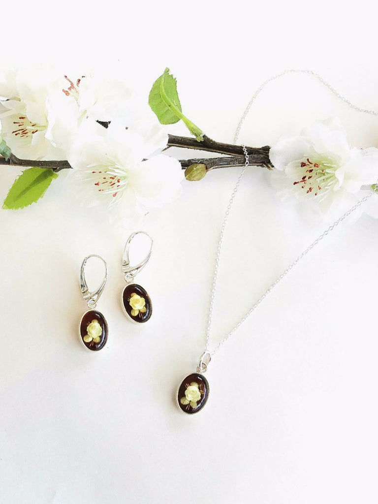 Carved Amber Rose Earrings | Sterling Silver Intaglio | Light Years