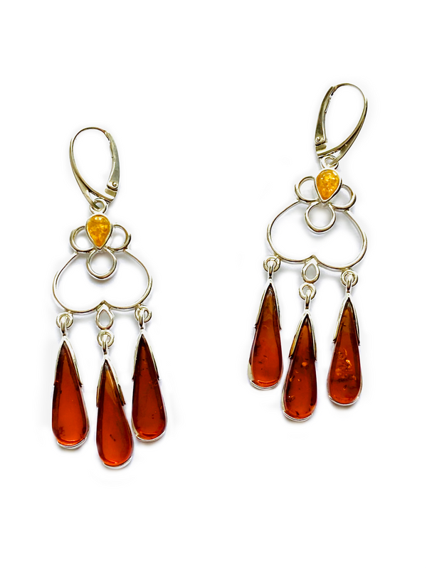Baltic Amber Chandelier Earrings, $68 | Light Years Jewelry