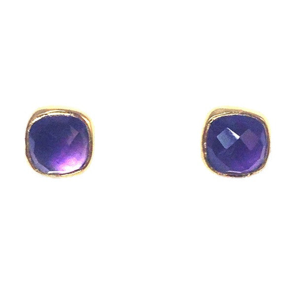 Faceted Amethyst Stone Posts, $34 | Gold Vermeil Stud Earrings | Light Years Jewelry