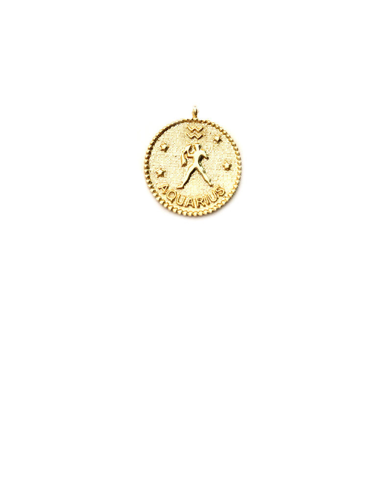 Zodiac Medallion Necklace | Aquarius | Gold Plated Chain Pendant | Light Years
