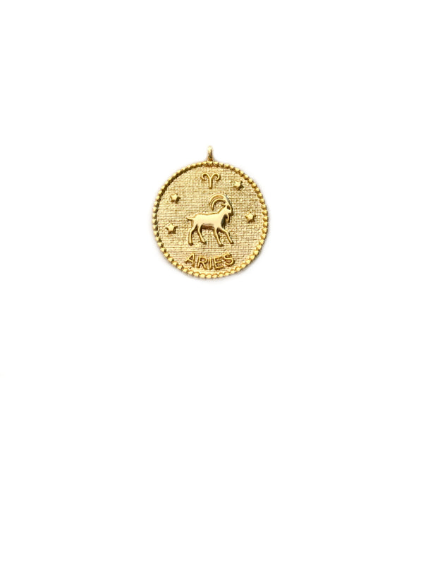 Zodiac Medallion Necklace | Aries | Gold Plated Chain Pendant | Light Years
