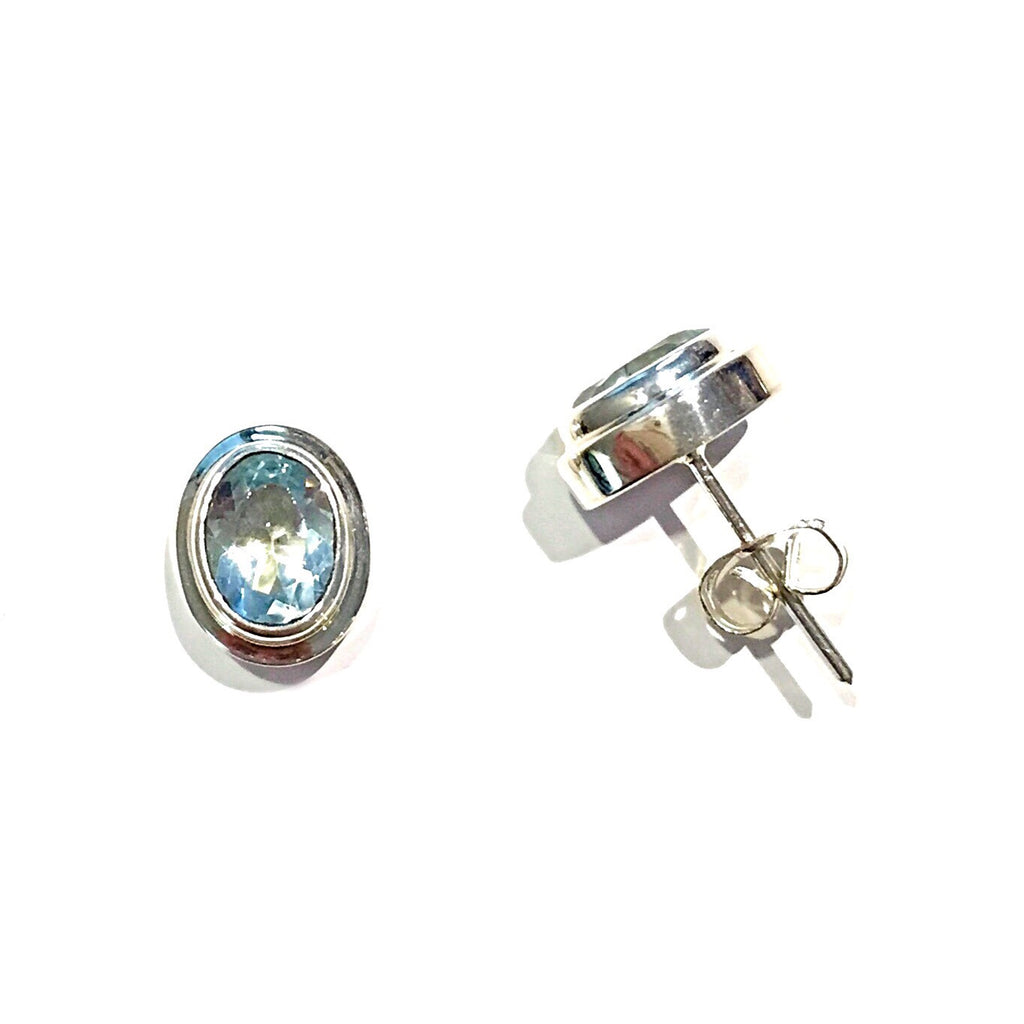 Large Blue Topaz Posts, $19 | Sterling Silver Stud Earrings | Light Years Jewelry