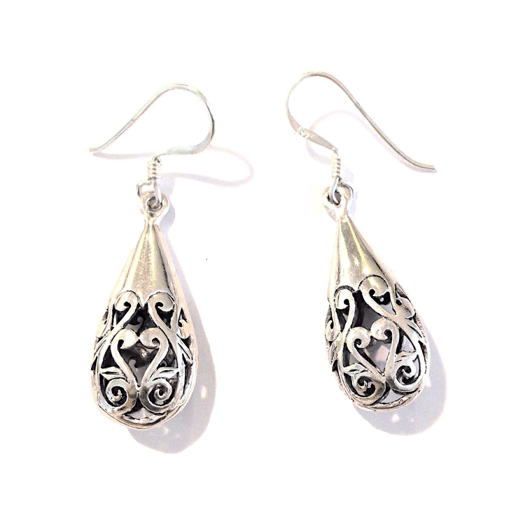 Carved Teardrop Earrings | Sterling Silver Dangles | Light Years Jewelry
