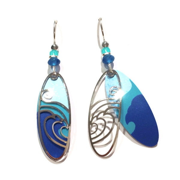 Blue and Silver Wave Earrings | Sterling Silver Dangles | Light Years