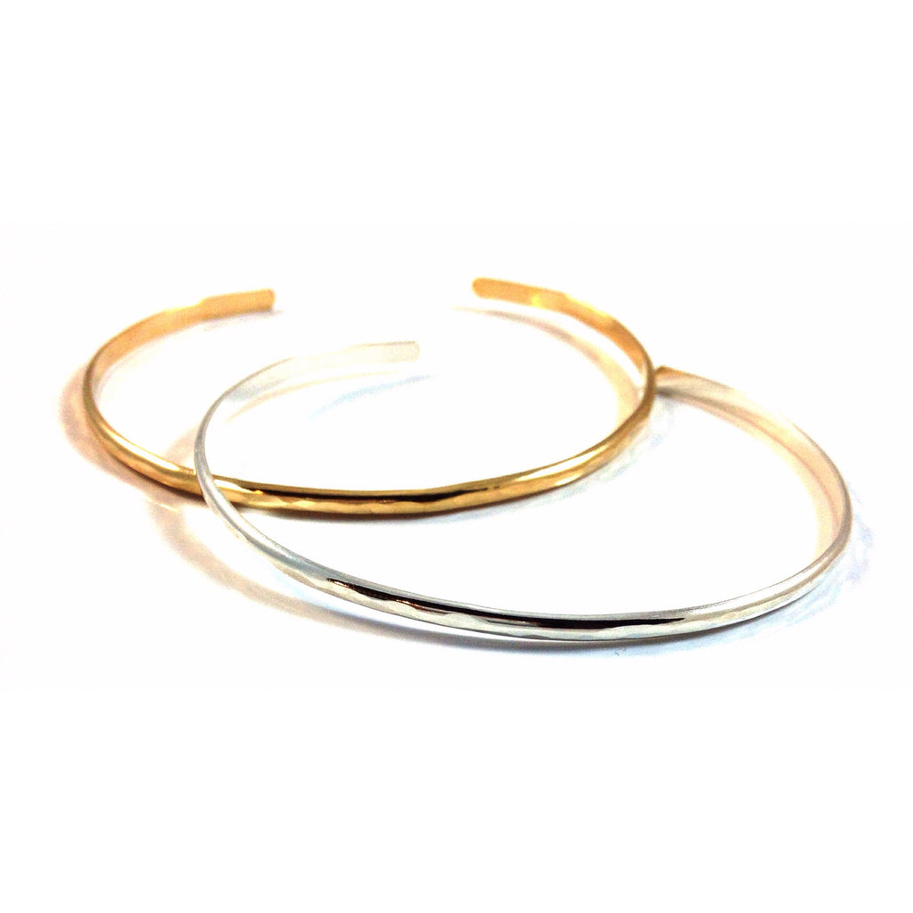 Slender Hammered Cuff Bracelet, $21-24 | Gold and Silver | Light Years