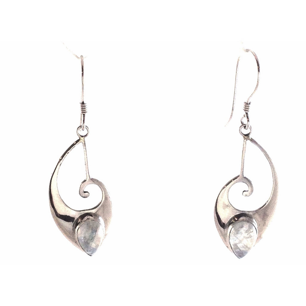Curved Dangle with Moonstone, $36 | Sterling Silver Earrings | Light Years