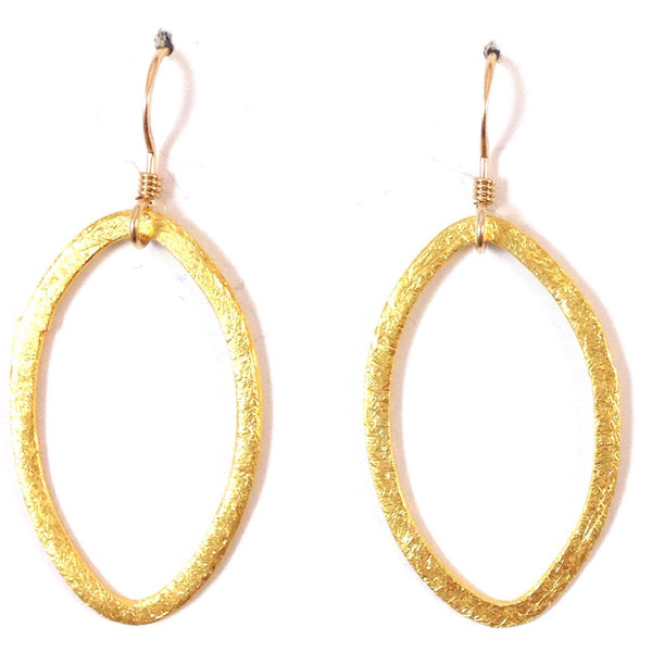 Brushed Oval Loops Earrings, $18 | Matte Fashion Gold Dangles | Light Years Jewelry