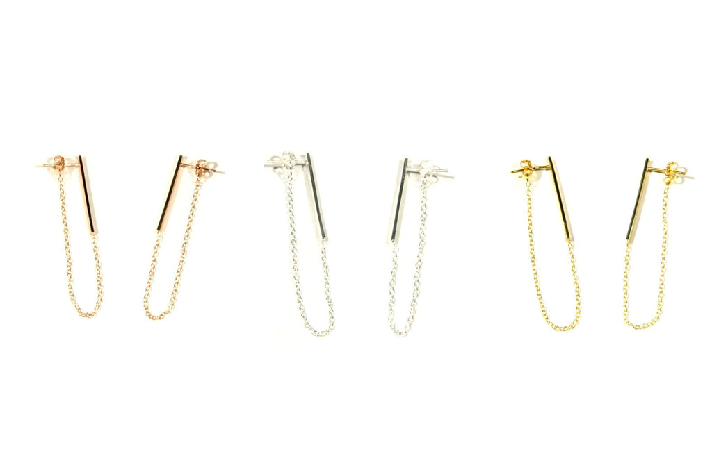 Bar & Chain Posts, $18 | Silver, Gold, Rose Gold | Light Years Jewelry