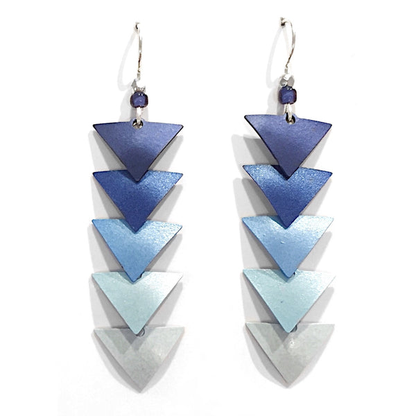 Blue Ombre Triangle Leaves Earrings By Adajio, $22 | Light Years Jewelry