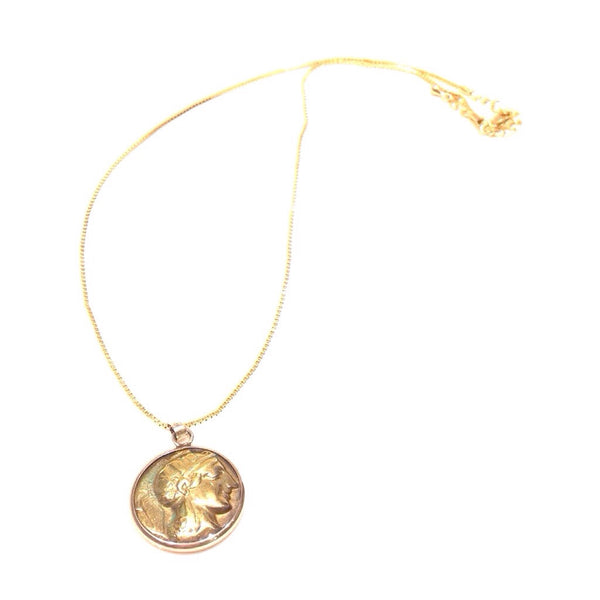 Greek Coin Reversible Brass Necklace, $48 | Light Years Jewelry