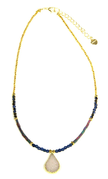 Beaded Druzy Necklace, $40 | Light Years Jewelry