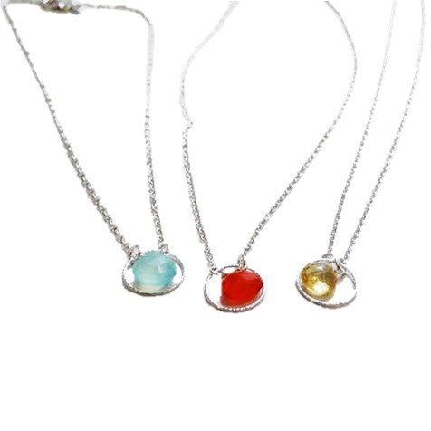 Briolette Necklace, $36 | Sterling Silver Stone Pendant | Light Years Jewelry