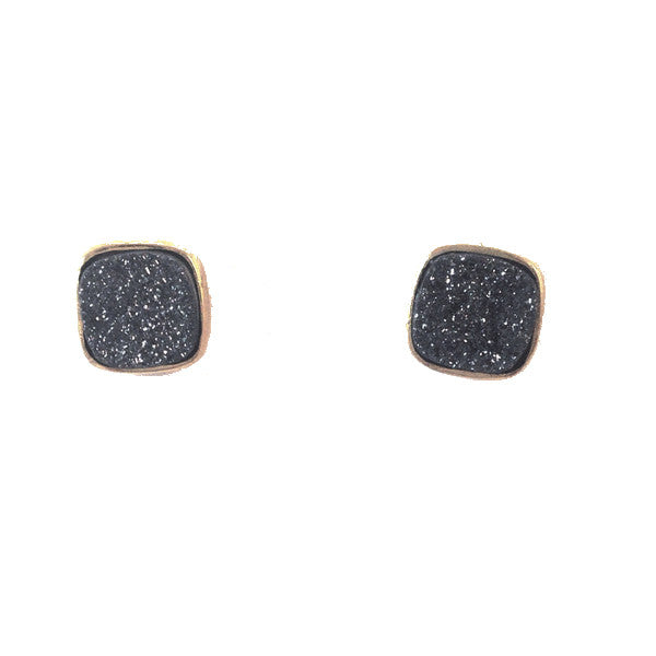 Black Druzy Post Earrings, $34 | 14kt Gold-Filled Stud | Light Years Jewelry