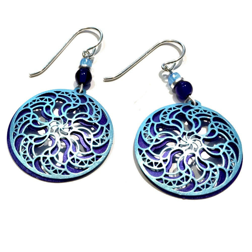 Blue and Indigo Mandala Earrings, $20 | Sterling Silver | Light Years Jewelry