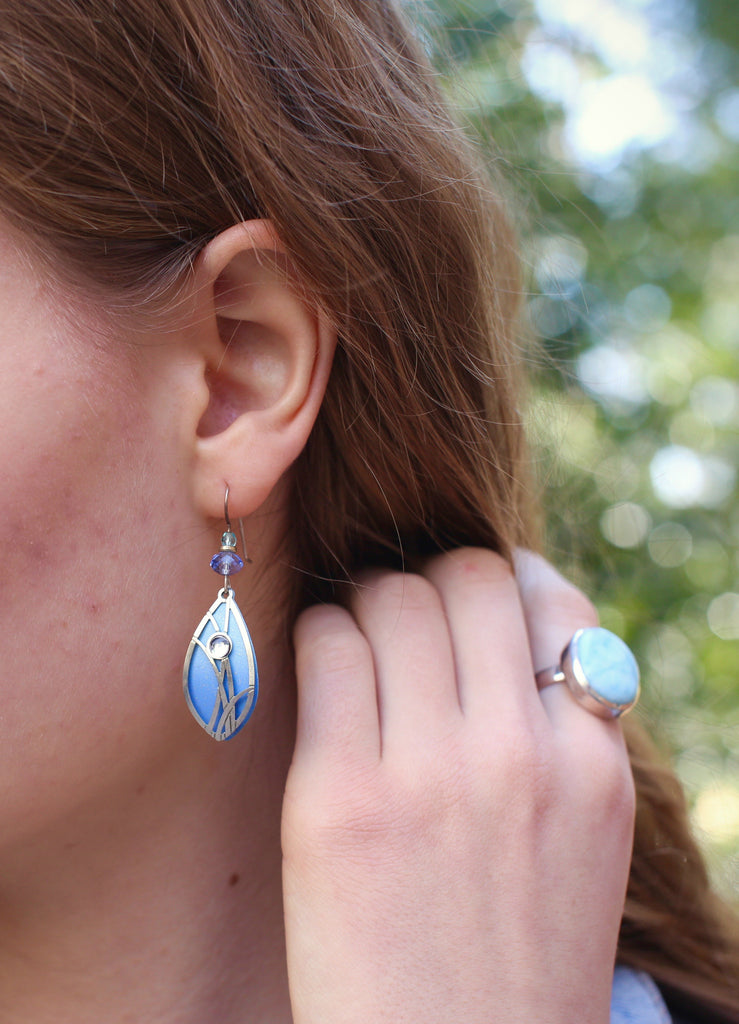Blue Petal Earrings by Adajio | Sterling Silver Dangles | Light Years