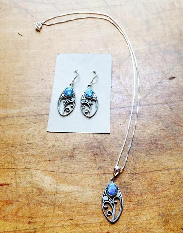 Blue Opal Flower Dangles $36 | Sterling Silver | Light Years Jewelry