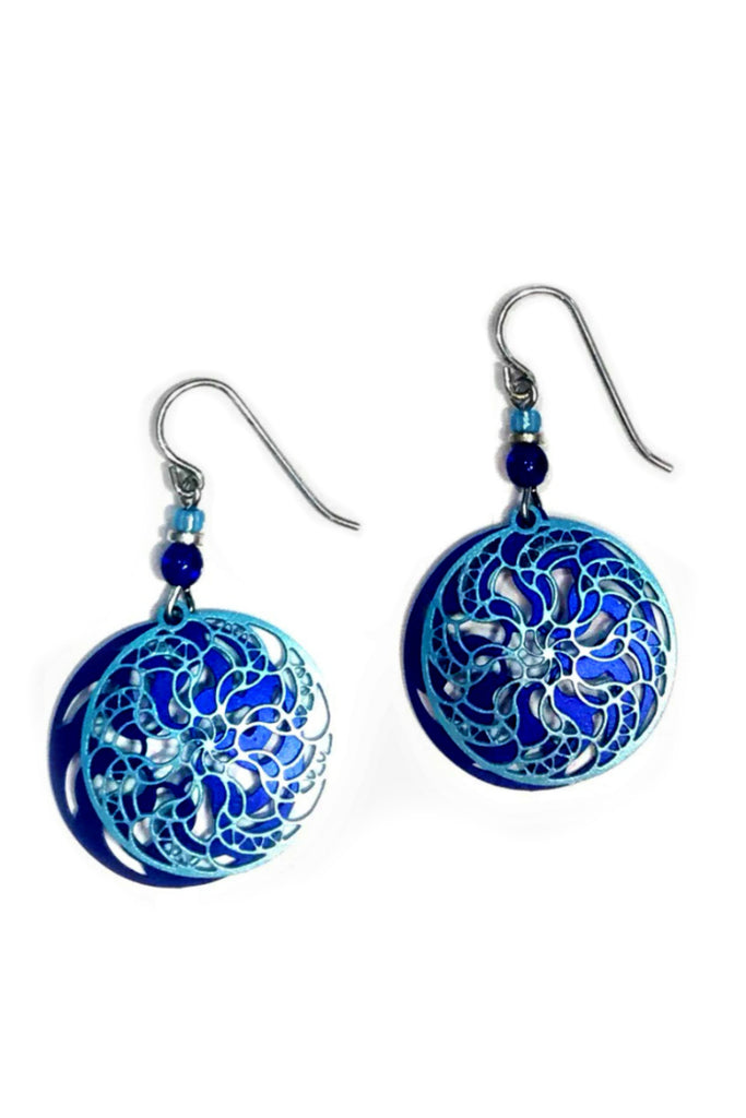 Ice Blue and Indigo Mandala Dangles by Adajio