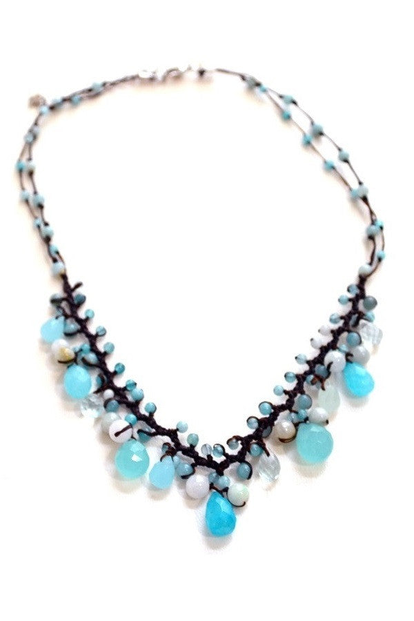 Blue Briolette Necklace with Silk Cord
