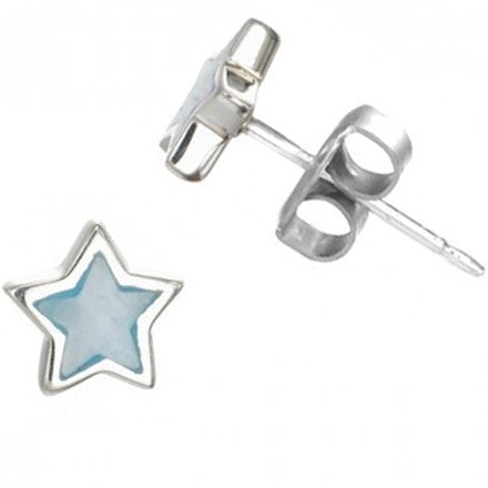 Blue Mother of Pearl Star Posts, $14 | Sterling Silver | Light Years Jewelry