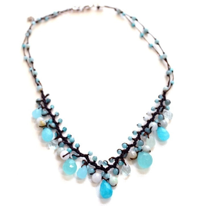 Blue Briolette Necklace with Silk Cord, $28 | Light Years Jewelry
