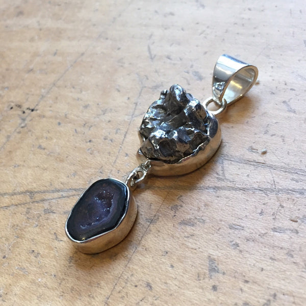 Meteorite and Druzy Pendant, $76 | Sterling Silver | Light Years Jewelry