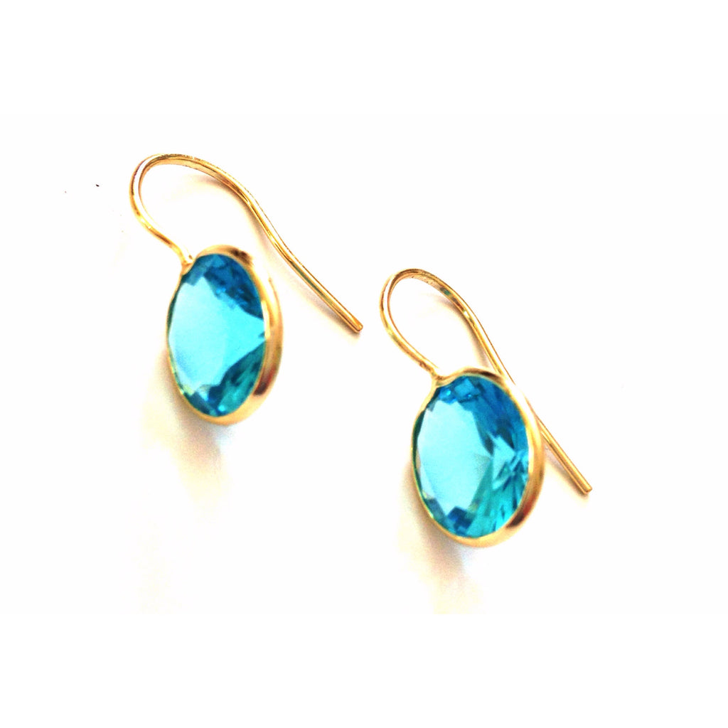 Faceted Round Aqua Cubic Zirconia Drops, $18 | Gold Vermeil Earrings | Light Years Jewelry
