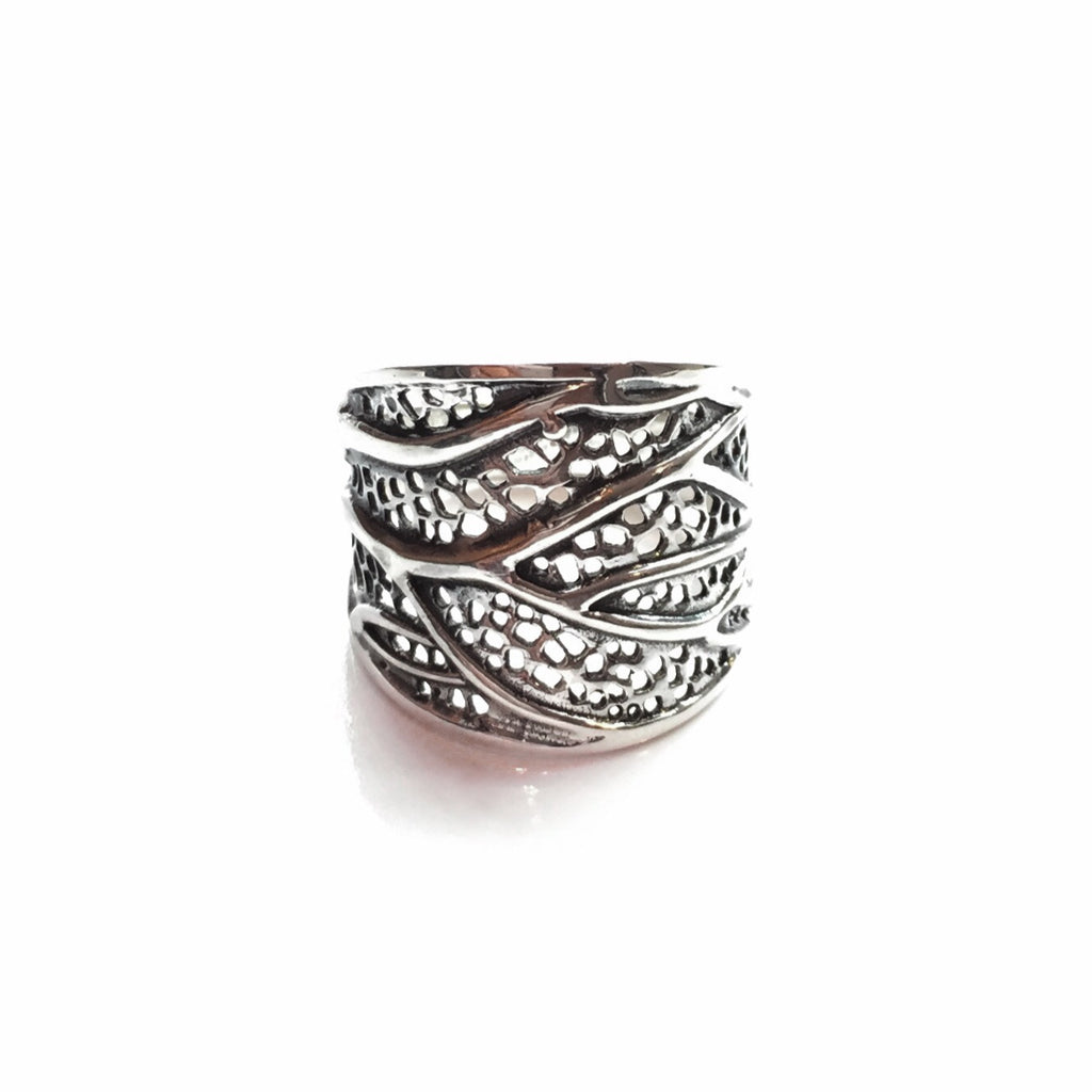 Large Wrapped Leaf Ring | Sterling Silver Size 7 8 9 | Light Years