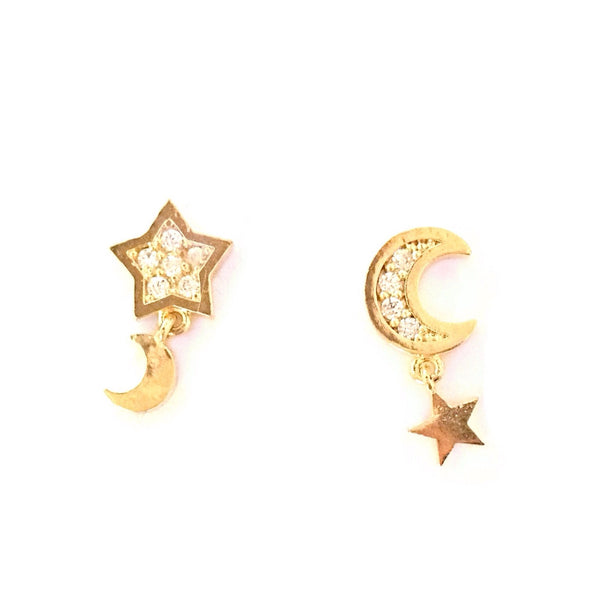CZ Star and Moon Posts, $9 | Fashion Gold | Light Years Jewelry