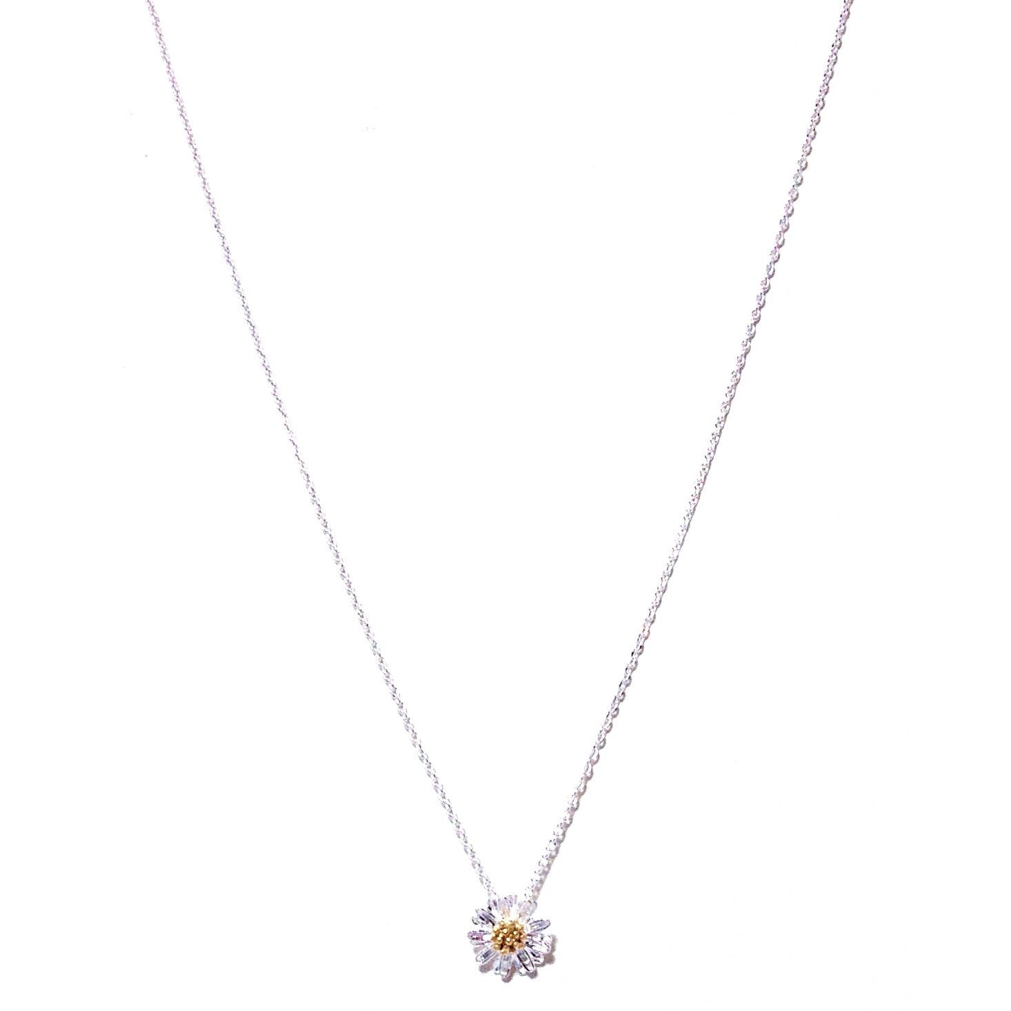 Tiny Daisy Necklace, $22 | Silver and Gold Plate | Light Years Jewelry