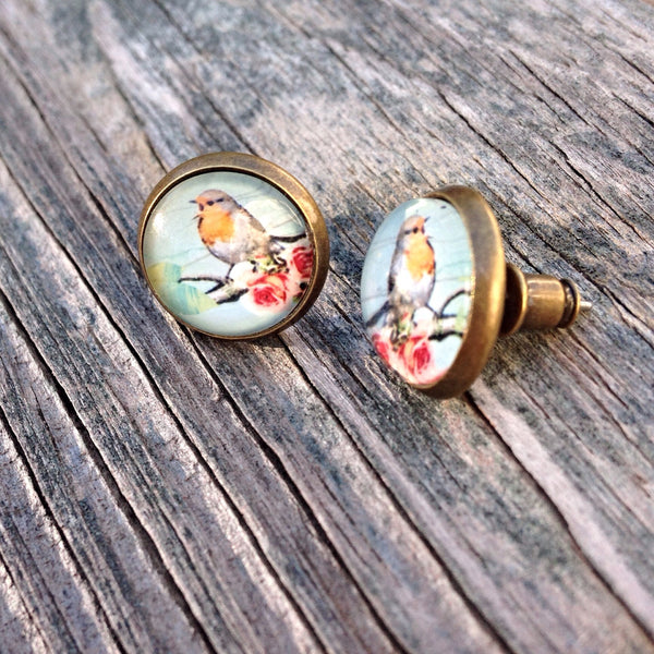 Beijo Brasil Yellow Bird Glass Dome Posts, $14 | Brass Stud Earrings