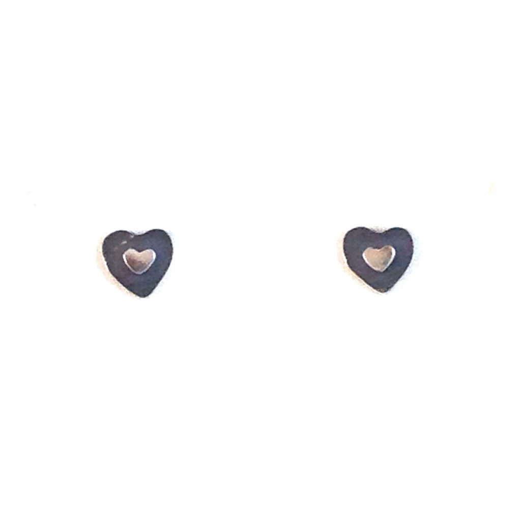Heart on Heart Posts, $17 | Sterling Silver Stud Earrings | Light Years Jewelry