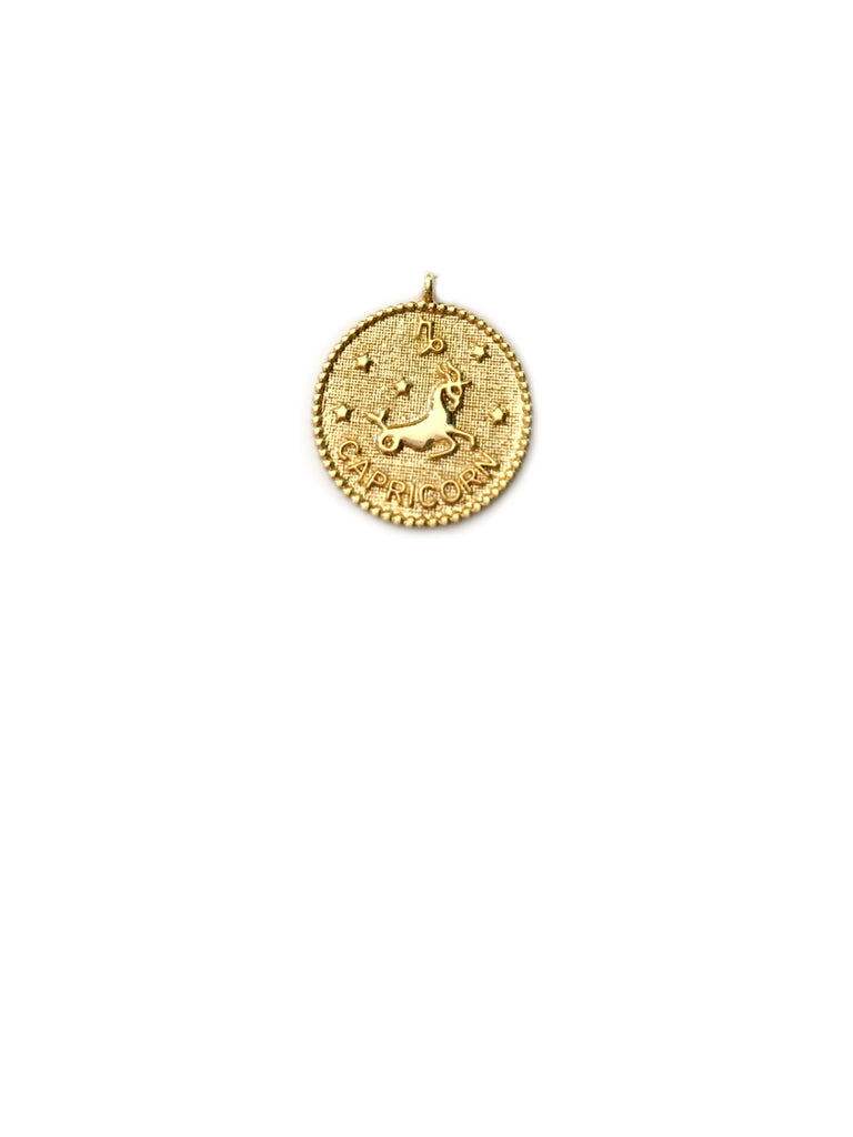 Zodiac Medallion Necklace | Capricorn | Gold Plated Chain Pendant | Light Years