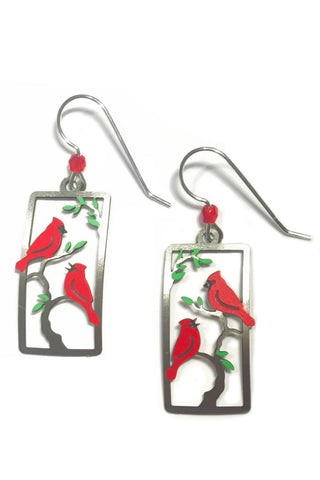 Cardinals in Tree Dangles by Sienna Sky, $16 | Light Years Jewelry