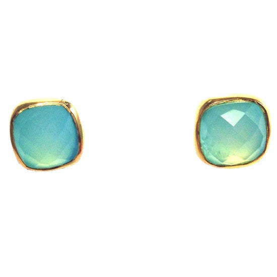 Faceted Chalcedony Stone Posts, $34 | Gold Vermeil Stud Earrings | Light Years Jewelry