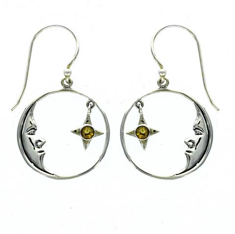 Moon & Citrine Star Dangles, $25 | Handmade Earrings | Light Years