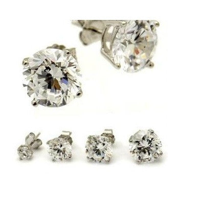 Round Cut Clear Crystal Posts, $8.50 | Cubic Zirconia Stud Earrings