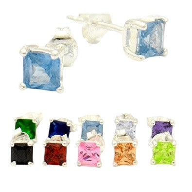 Colorful Square Crystal Posts, $11 | Cubic Zirconia Stud Earrings