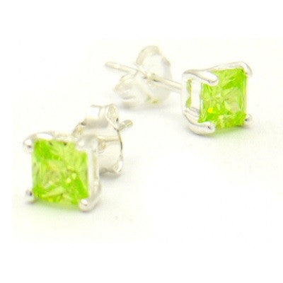 Apple Green Square Crystal Posts, $11 | Cubic Zirconia Stud Earrings