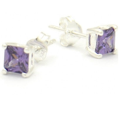 Purple Square Crystal Posts, $11 | Cubic Zirconia Stud Earrings