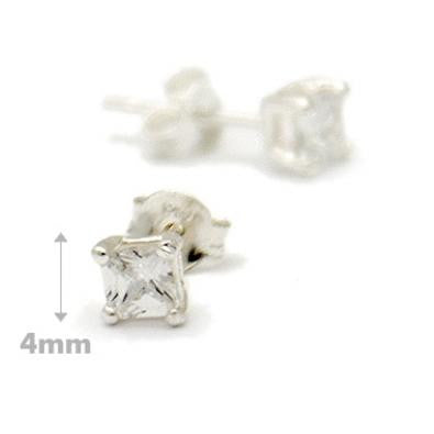 4mm Square Cut Clear Crystal Posts, $9 | Sterling Silver Stud Earrings